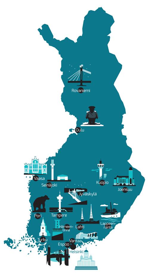 Evantia Suomen kartta
